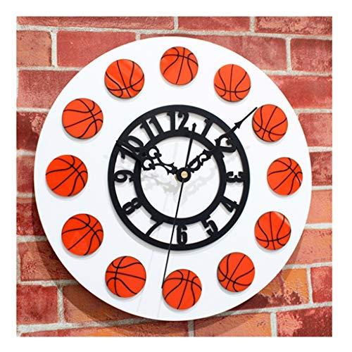 Xz max @Muur Klok DIY Cartoon Basketbal Schaal Wanddecoratie Beeld Wandklok, Mute Niet-tikkende Slaapkamer Woonkamer Keuken Kantoor Batterij Aangedreven Grote Klokken