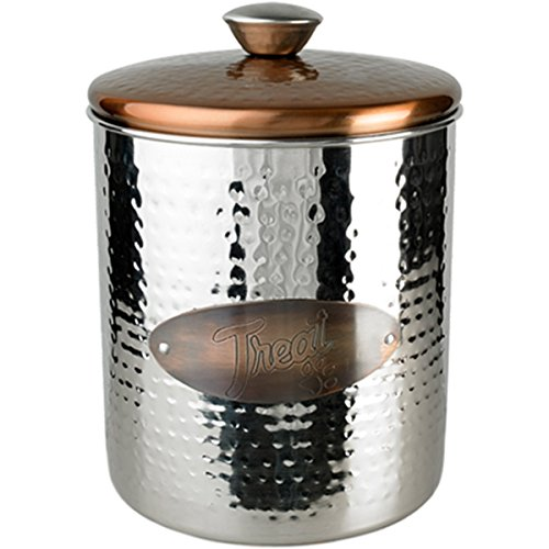 Buddy's Line Hammered Stainless Steel & Copper Top Treat Jar