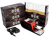 JeVx Maquina Liadora de Tabaco + 1200 Tubos con Filtro OCB - Entubador Electrico para LLenado de Cigarros Entubar Cigarrillos de Fumar entubadora Electrica para liar Rojo