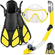 ZEEPORTE Mask Fin Snorkel Set with Adult Snorkeling Gear, Panoramic View Diving Mask, Trek Fin, Dry Top Snorkel +Travel Bags, Snorkel for Lap Swimming (Yellow, ML/XL)