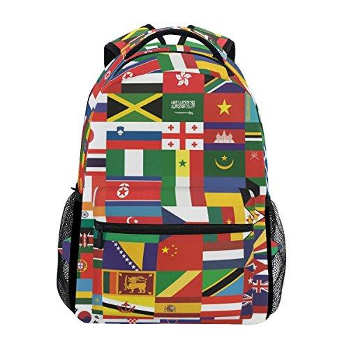Flag School Backpacks Multi Colorful Student Backpack for1th 2th 3th Grade Boys Girls Kids bookbag travel bag
