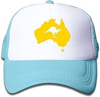 Black Mesh Baseball Caps Adjustable Kids Hat Australia Map Kangaroo Unisex