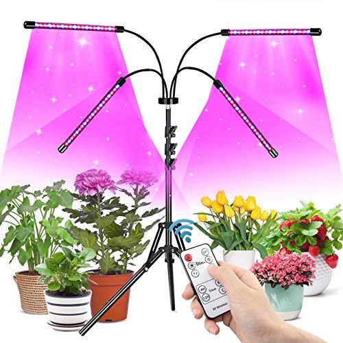 Niello Pflanzenlampe LED mit Stativ, 80 LED Pflanzenlicht Vollspektrum 4 Köpfe für Zimmerpflanzen, 80W Grow Lampe Tripod einstellbar15-63Inch,Timing 4/8/12H,3 Modi&10-stufige Helligkeit