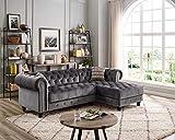 Lilola Home LILOLA Valeria Velvet Sectional Sofa Gray