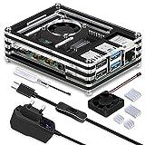 GeeekPi Caja para Raspberry Pi 4, Raspberry Pi 4 Caja con Ventilador, Cargador...