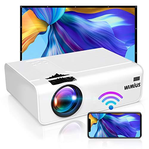 """WiFi Beamer, WiMiUS 5800 Mini Portabel Beamer Unterstützt 1080P Full HD Wireless 200 """"Heimkino Beamer Kompatibel mit PC / Smartphone / TV Box /Fire Stick Projektor"""