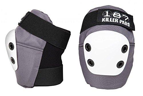 (X-Large, Grey w/ White Cap) - 187 Killer Pads Slim Elbow Pads