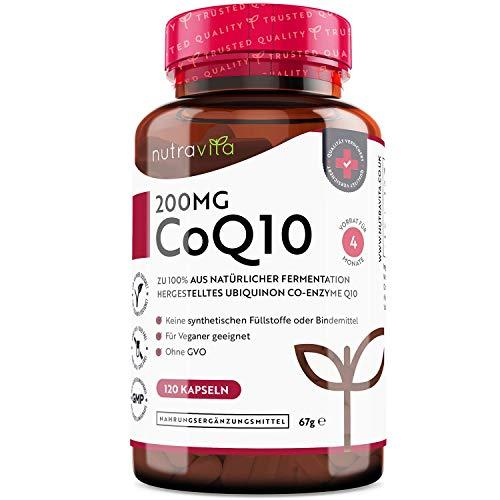 Coenzym Q10 200mg - 100% reines und natürlich fermentiertes Ubichinon - 120 vegane Kapseln des hochwirksamen CoQ10 (Vorrat für 4 Monate) - getestet und zertifiziert in Deutschland - Hochdosiert