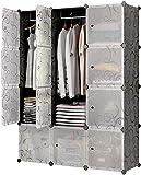 Glamexx24 Hallo Home Armario portátil para Colgar la Ropa, Armario Combinado, Armario Modular para Ahorrar Espacio, Cubo Organizador de Almacenamiento Ideal para Libros 12 Cubos
