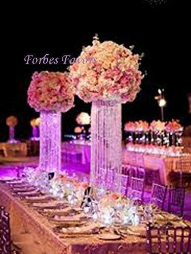 "Forbes Favors ™ 20"" Glamorous Column Enchanted Chandelier with White Battery LED String Lights Centerpiece Wedding, Birthday, Anniversary & Special Occasion Centerpiece"