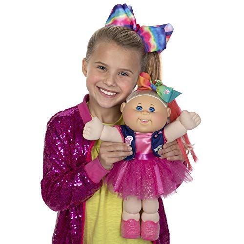 "Cabbage Patch Kids, JoJo Siwa Doll, 14"", Plush Toy, Includes Sparkly Dress, Vest with Patches, Giant Hair Bow – with Birth Certificate, Birthdate, Birth Time - Amazon Exclusive, Multi (CPW0121)"