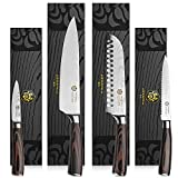 Kessaku 4 Knife Set - Samurai Series - Japanese Etched High Carbon Steel - 8-Inch Chef, 7-Inch Santoku, 5.5-Inch Utility, 3.5-Inch Paring