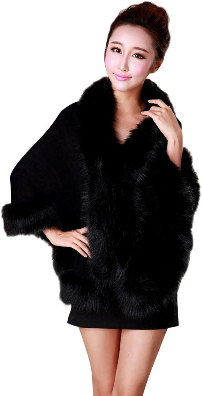 Barry Womens Luxurious Faux Fur Soft Shawls Cape  Black OneSize