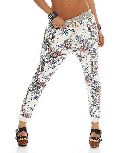 Zarmexx Damen Sweatpants Baggy Hose Boyfriend Freizeithose Sporthose All-Over Roses Print One Size (weiss2, One Size)