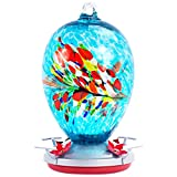 Hand Blown Glass Hummingbird Feeders for Outdoors, Leakproof 37.2 Ounces, Easy to Clean&Filling, Hanging Garden Yard Decoration Include Ant Moat, S Hook, Vines Rope, and Brush(Blossom)