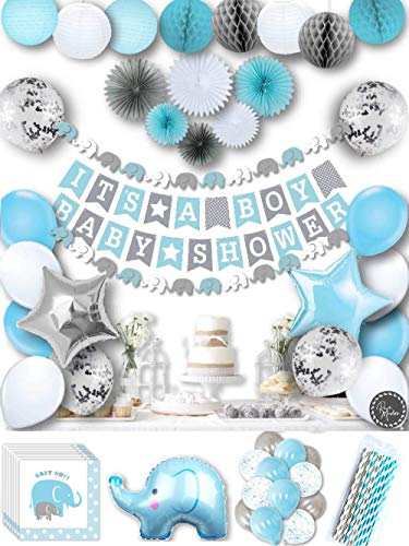 Baby Shower Decorations for Boy, Elephant Style | It's A BOY | Garland Bunting Banner, Paper Lanterns, Honeycomb Balls | Tissue Paper Fans | Blue Grey White