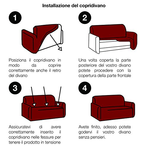 Copridivano Italiano 2 Pezzi ANTIMACCHIA (copridivano + copricuscino) bielastico Elastico 1P 2P 3P 4P - Made in Italy (Bordeaux, Divano 3 posti + Cuscino 3 posti)