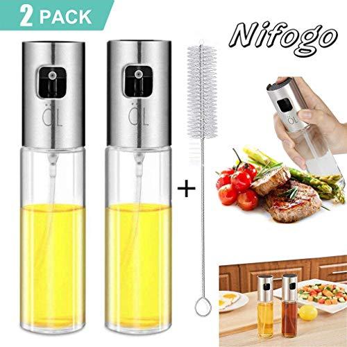 Nifogo Ölsprüher Flasche Oil Sprayer 100ML, Ölflasche Glas Essig Ölspender mit Bürste für Kochen Salat BBQ Pasta (2pcs)