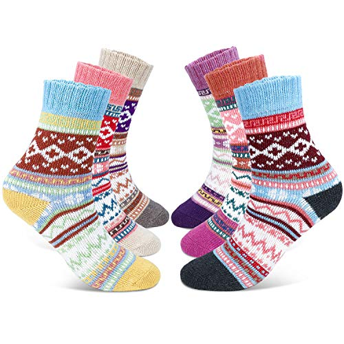 Gifort Damen Socken, 6 Paare Warme Socken Wintersocken, Atmungsaktive Weiche Thermosocken Lässige Socken Frauen Socken Einheitsgröße für Mädchen