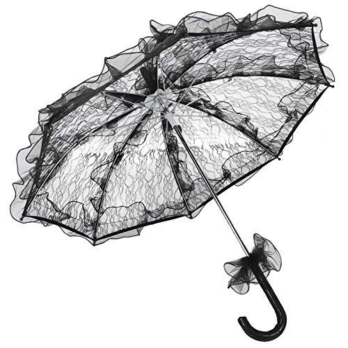 Cikonielf Sombrilla de Encaje Vintage para Boda Mini Accesorios de Paraguas para decoración de Boda de Escenario(Negro)