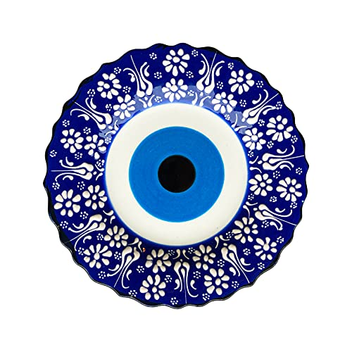ALACA Turkish Handmade Blue Evil Eye Design Decorative Plate 7.08'' (18 cm) - Ceramic Traditional Ornament With 2 Stand For Home Kitchen Office - Wall Hanging Decor - Best Gift Idea ( Blue )