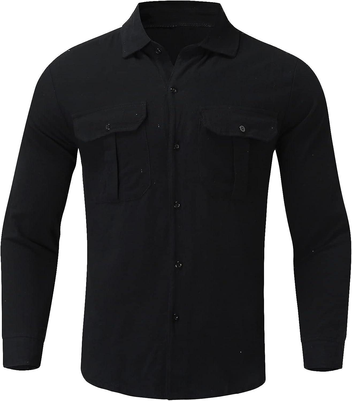 FORUU Long Sleeve Shirt for Men 2021 Casual Solid Double Pocket Shirt Plus Size Button Turn-Down Collar Tops Dress Shirt