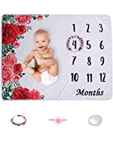 Good Phoenix Baby Monthly Milestone Blanket | Large & Extra Soft Fleece | Bonus Floral Wreath + Headband + Phone Light | Beautiful Photography Backdrop for Baby | 1-12 Months for New Moms