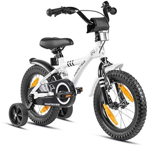 Prometheus Kinderfahrrad 14 Zoll Jungen mit Stützräder ab 3-4 Jahre Mädchen Rücktritt 14zoll BMX Modell 2021 in Weiss Schwarz