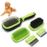 Sammiu Pet Grooming Brush 5 in 1 Pet Massage Kit Dog Brush Cat Brush Bath/Bristle/Pin Brush Dog Deshedding Tool Dematting Comb for Dog and Cat with Long or Short Hair