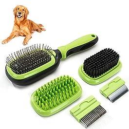Sammiu Pet Grooming Brush 5 in 1 Pet Massage Kit Dog Brush Cat Brush Bath/Bristle/Pin Brush