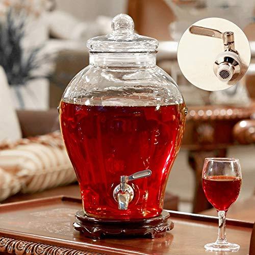 HyxqyJP Klassieke drankdispenser met glazen deksel en stabiele standaard, 6/10 liter inhoud glazen kan, voor feesten/bruiloften