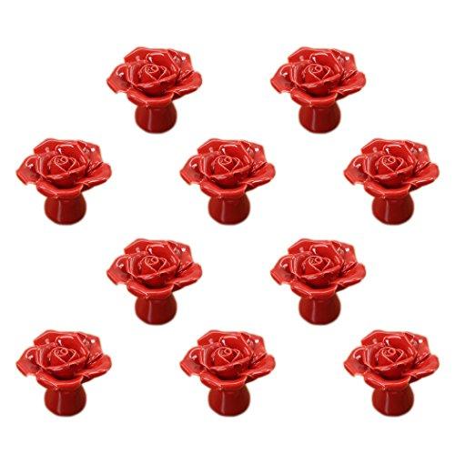Rosa de Cerámica Pomo de la Puerta Cocina Aparador Armario Cajón Tiradores Asas 10 Paquete, Rojo