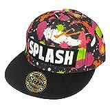 ZIP CORPORATION 帽子 キャップ メンズ レディース おしゃれ ロゴ 平つば B系 キャップ SPLASH・BK (スナップバック調節 ゴールド ステッカー付き) 82922