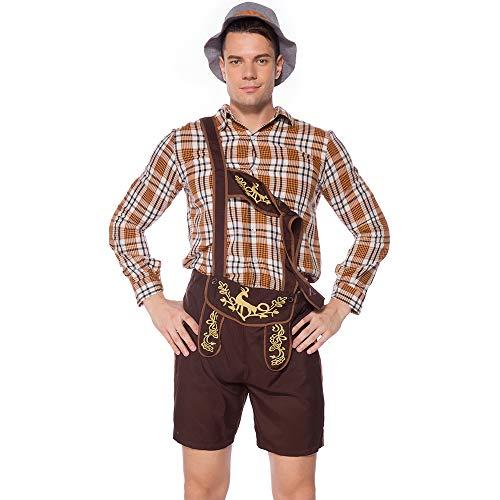 Dihope, kostuum, cosplay, voor heren, Beiers, bier, lederhose en overhemd, top hoed voor Oktoberfest, Halloween, party, kleding, maskerade