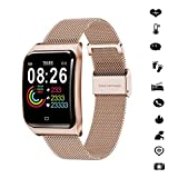COKECO Smartwatch,Inteligente Pantalla Táctil Impermeable Pulsera Llamada SMS Deporte Reloj Bluetooth Pulsómetro Monitor Sueño Podómetro Calorías Ultradelgado 1.3 Pulgadas HD iOS Android