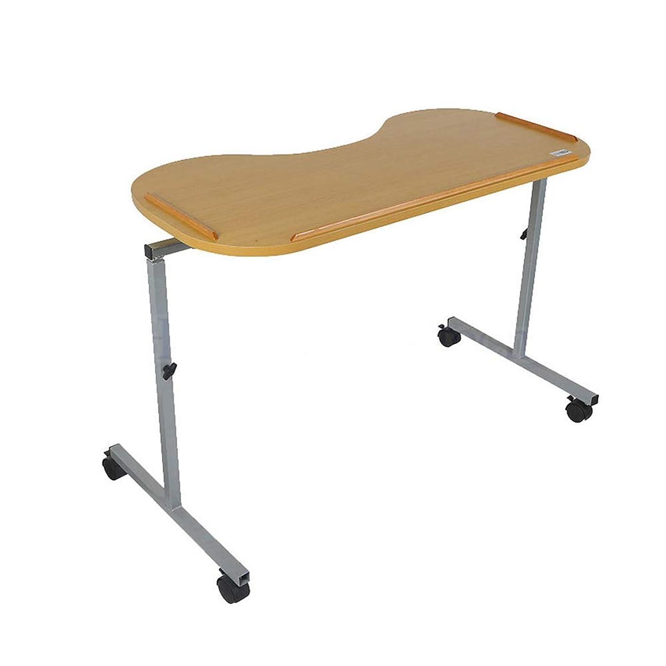 圧力見て取り出す医療用ベッドサイドテーブル、ポータブルで丈夫なラップトップデスク調節可能なカーブドベッド/椅子用テーブル、ロック付きキャスター