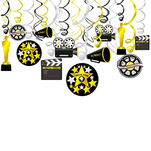 Konsait Movie Foil Swirl Hanging Decorations, Movie Themed Hanging Swirl Party Decor Favors Supplies - Gold Black Silver Decor(18Pack)