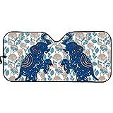 Belidome Parasol de elefante tribale retro para coche, camión, SUV, visera plegable de acordeón, azul