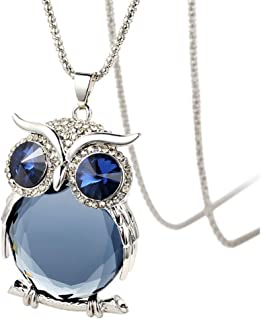 TULIP LY Women's Lucky Owl of Night Pendant Necklace and The Night Guardians Long Sweater Chain Owl Pendant Necklace Lovely Animal Pendant Necklace