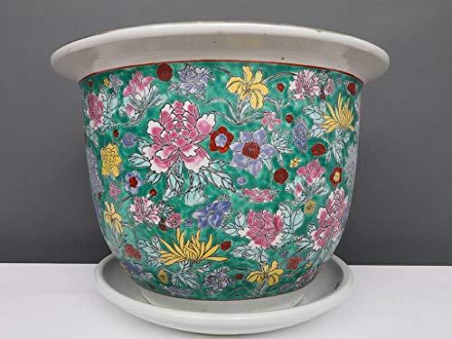 Yajutang Pot de Fleurs avec Soucoupe en Porcelaine Vert/Motif Floral Ø 32 cm