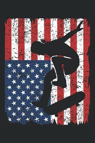 Skateboarder Skater Skateboard USA Flagge Geschenk Notizbuch (Taschenbuch DIN A 5 Format Liniert): Skateboard Geschenk Notizheft, Schreibheft, ... für Fans von Skatern und Skate Wettbewerben.