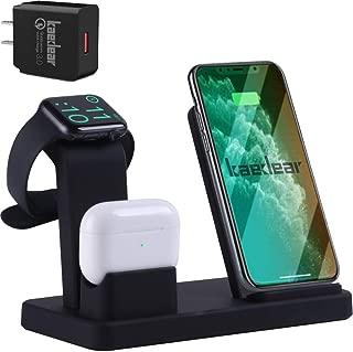 Kaedear(カエディア) ワイヤレス充電器 iphone / apple watch 5 (OS6) / airpods pro 充電 スタンド アップルウォッチ 充電器 3in1 ワイヤレス qi 急速充電 最大10W iPhone 11 / 11 Pro / 11 Pro Max/XS/XS Max/XR/X / 8 / 8 Plus 18W アダプター付き PSE認証 (アダプター付き, black)