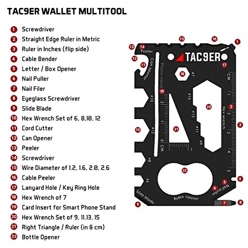 TAC9ER 22-in-1 Wallet Multitool Credit Card Sized Survival Tool Fits in a Pocket EDC Rescue Gear for Quick Fixes