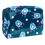 Kit de Maquillaje Cohete Azul de Dibujos Animados Neceser Makeup Bolso de Cosméticos Portable Organizador Maletín para Maquillaje Maleta de Makeup Profesional 18.5x7.5x13cm