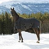 HORZE Nevada Stalldecke für Pferde, 420D, 400g Füllung, Schwarz, 145