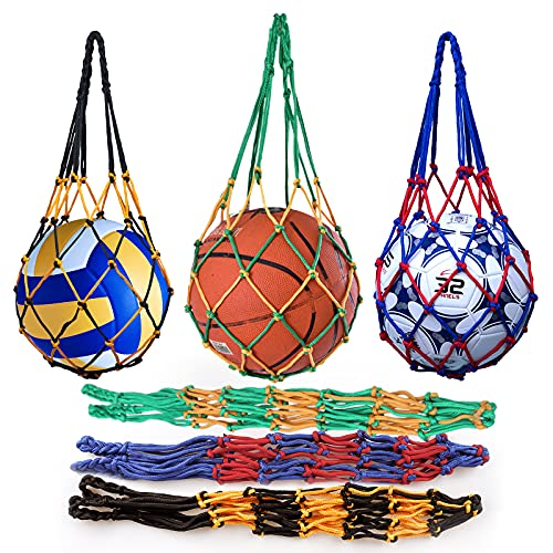 Yisscen Ballnetz Net Tasche, 3 Stück Tragbare Ballnetz Sports Ball Ballnetz Nylon Net Handgewebte Netztasche, für Fußball, Basketball, Volleyball, Rugbyball(Rot-Blau, Schwarz-Gelb, Gelb-Grün)