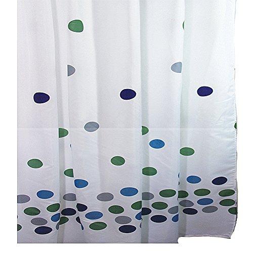 Sanixa PA80172 Duschvorhang Textil 180x200 cm Kreise bunt   wasserabweisend   waschbar   Badewannenvorhang   Vorhang   hochwertige Qualität mit Ringen