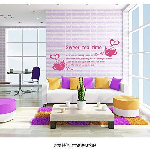 JXMN Süße Teezeit Wandaufkleber Kaffeetasse Wohnzimmer Schlafzimmer Hintergrundbild 100x50cm