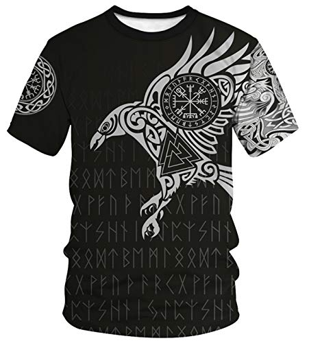 ENLACHIC Men's Vikings T Shirt Tops Novelty 3D Print Norse Mythology Pullover Tee,Odin's Raven,XL