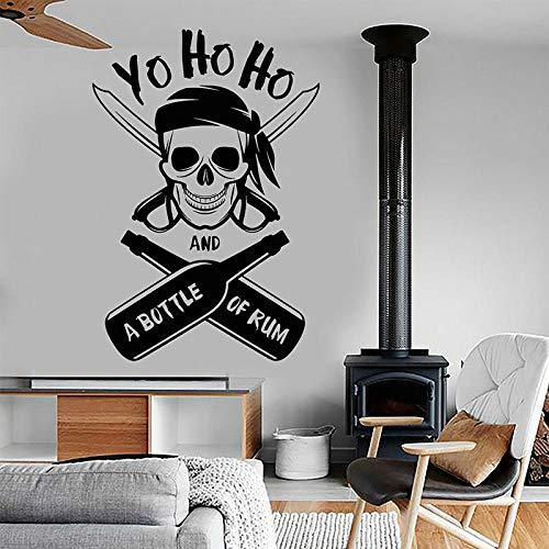 Una botella de ron pirata calavera pegatinas de pared vinilo náutico decoración del hogar Interior niños habitación niños dormitorio calcomanías Mural 42x61cm